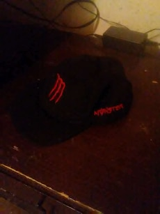 black and red Monster baseball cap