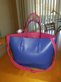 blue and red leather 2-way handbag
