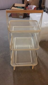 rectangular clear glass-top table with brown wooden frame 3727 km