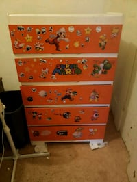 White and orange wooden dresser  Winnipeg, R3B 2R7