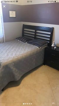 Full size bed with mattress , boxspring and nightstand expresso in color Hialeah, 33010