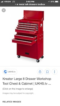 large red Kreator 8-drawer workshop tool chest and cabinet screenshot