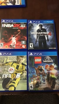 four assorted PS4 game cases Alexandria, 22310