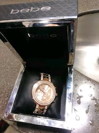 round gold-colored chronograph watch with link bracelet Phoenix, 85021