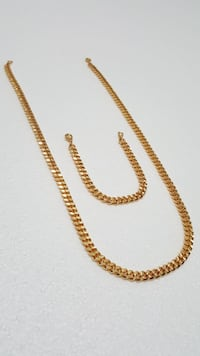 18K Gold PVD Plated Dubai Cuban Chain Set