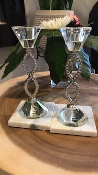 two silver-colored candle holders Vaughan, L6A 2C9