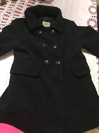 black double breasted coat with black leather belt Reston, 20191