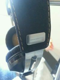 black and silver headphone