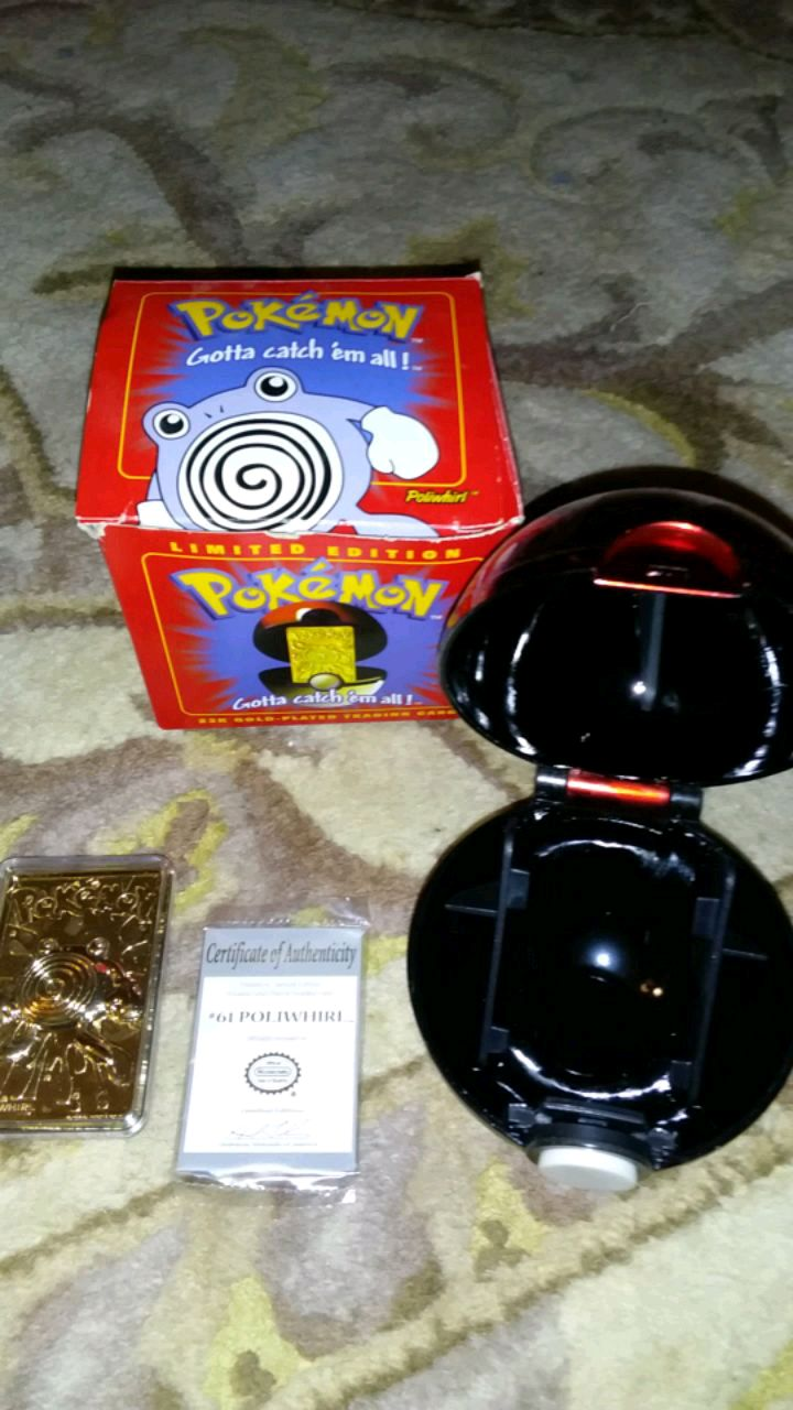 Photo Pokemon limited edition poliwhirl 23k gold plated