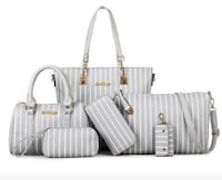 6pc Nylon Grey n White Handbag Set  Byron, 31008