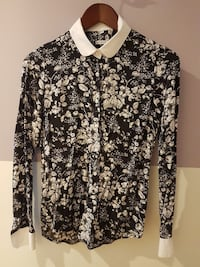 black and white floral long sleeve collared shirt