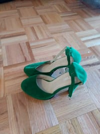 pair of green suede platform ankle strap kitten sa