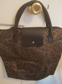 brown and black chico's leather tote bag