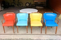 four blue and red padded chairs Toronto, M4V 2X8