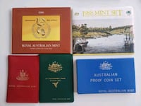 Lot of 5 1970s-1980s Royal Australian Mint Coin Collection Sets