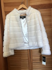 Off-white faux fur jacket by Kristen Blake (new, tag on)