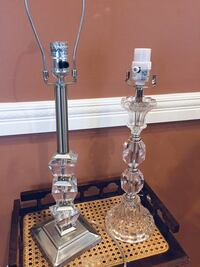 Vintage crystal glass lamp and lucite and brushed silver lamp no chips perfect working condition   Seaford, 11783