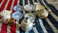 assorted-color plates and teapots
