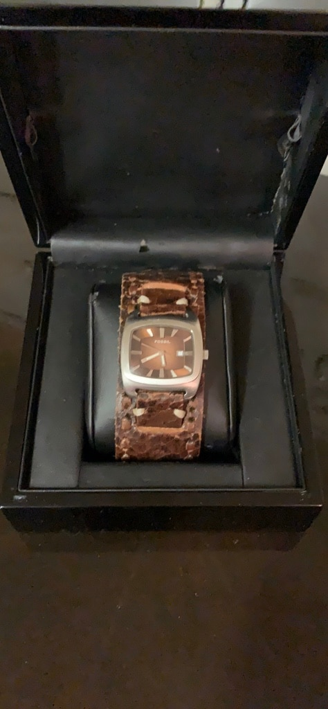 Photo Fossil Watch with Brown Leather Band- Unisex
