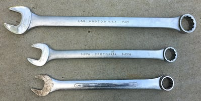 3 Proto and SK Jumbo Combination Wrenches.