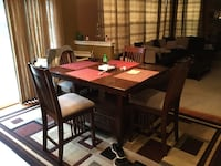 Rectangular brown wooden table with six chairs dining set Brandywine, 20613
