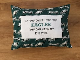 NFL Eagles Pillow Handmade Cross Stitched