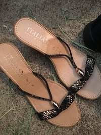 Pair of brown leather open-toe heeled sandals Bunker Hill, 25413