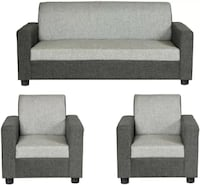 gray-and-black suede couch and two armchairs set Bengaluru, 560084
