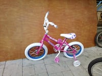 toddler's pink and white bicycle with training wheels Maple Ridge, V2X 2W9