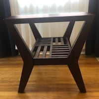 Wooden Accent Table with Glass Top (mahogany) Washington