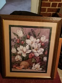 white and red petaled flower painting with brown wooden frame Dundalk