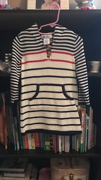 white, black, and red strip half-button hoodie2-3T never been worn