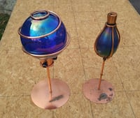 two blue and pink table lamps