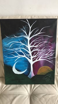 Used Sun Moon White Tree 16 X 20 Canvas Painting For Sale In