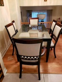 rectangular glass top table with six chairs dining Toronto, M1T 3J9