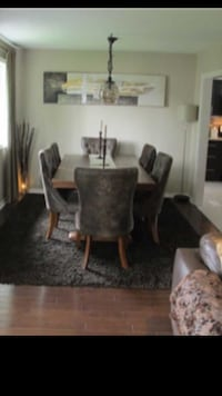 Solid wood 6-8 people dining table WITH 6 chairs London, N6B