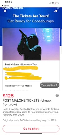 Don't buy these post Malone tickets guys a hack  Brampton, L6V 3V7