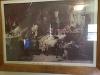 Painting called the doctor by Luke Fildes   An antique wood and glass