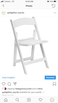 White wooden folding chairs For rent Reading, 19605