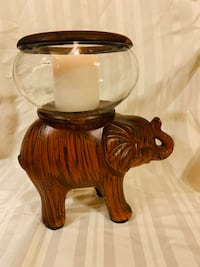 Vintage 2-Pc Ceramic Elephant Candle Holder & Candle