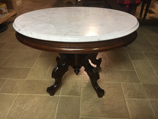 Used Antique Marble Top Victorian Parlor Coffee Table For Sale In