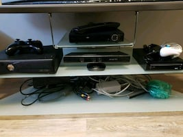 """58"""" Panasonic TV with glass TV stand, DVD player, WII system"""