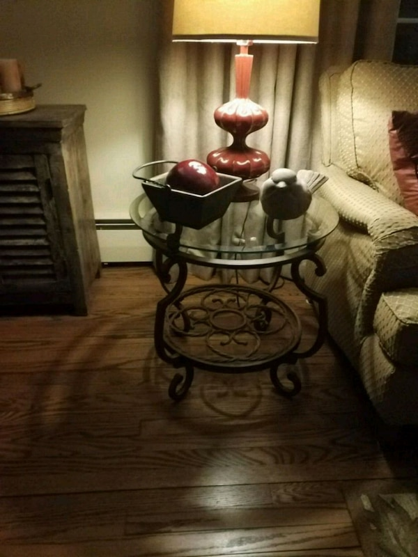 2 metal and glass end tables