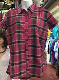 red and black plaid button-up shirt Brampton