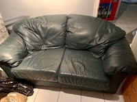 Forest Green Two-Seater Leather Couch Vaughan