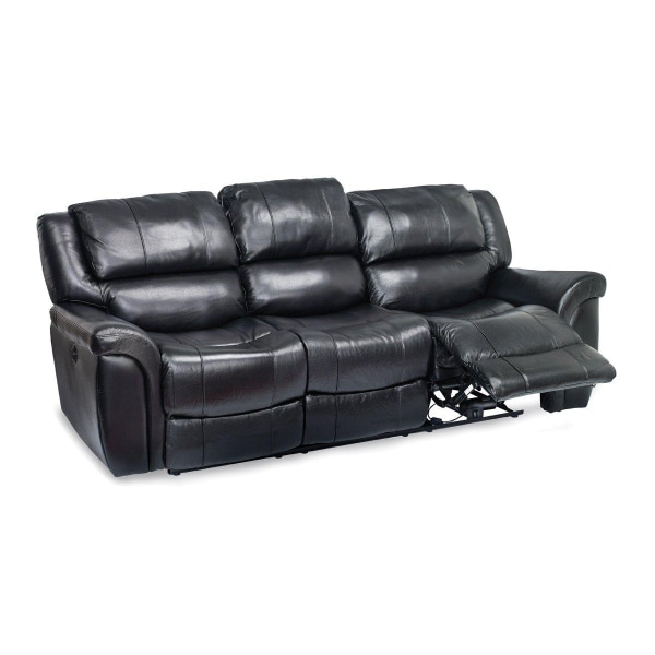 Black Leather Power Reclining Sofa ($1300 value)