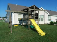 white and brown wooden slide and swing set Angola, 46703