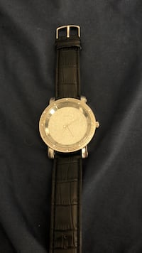 round silver-colored analog watch with black leather strap Washington, 20024