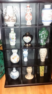 Vintage Miniature Japanese Vases in Display Cabinet Brampton