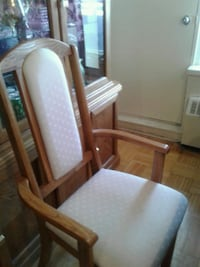 brown wooden framed white padded armchair Toronto, M9R 3T6